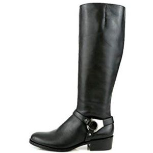 Via Spiga Women's Kacey Black Leather Riding Boots